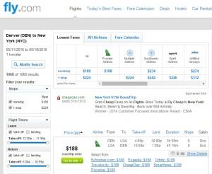 Denver to NYC: Fly.com Results