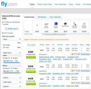Detroit-Lima: Fly.com Search Results