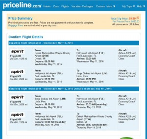Detroit-Lima: Priceline Booking Page