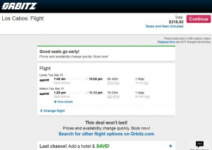 Detroit-Los Cabos: Orbitz Booking Page