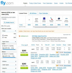 Detroit-San Jose: Fly.com Search Results (May)