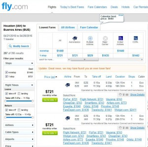 Houston-Buenos Aires: Fly.com Search Results