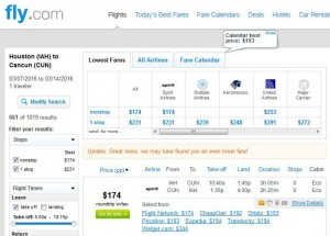 Houston-Cancun: Fly.com Search Results
