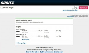 Houston-Cancun: Orbitz Booking Page
