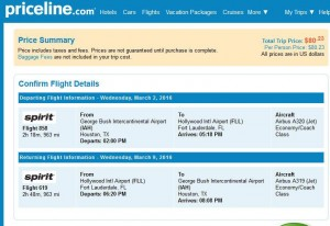 Houston-Fort Lauderdale: Priceline Booking Page