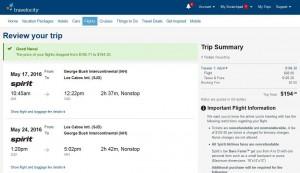 Houston-Los Cabos: Travelocity Booking Page