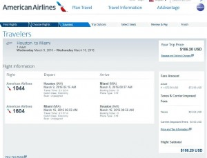 Houston-Miami: American Airlines Booking Page