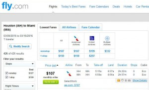 Houston-Miami: Fly.com Search Results