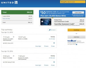 Houston-Miami: United Airlines Booking Page