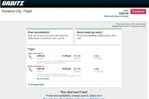 Houston-Panama City: Orbitz Booking Page