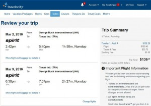 Houston-Tampa: Travelocity Booking Page