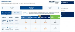 JetBlue Search Results: New York City to San Francisco