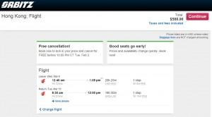 LA to Hong Kong: Orbitz Booking Page
