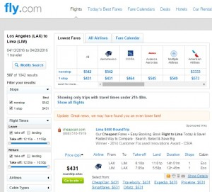 Los Angeles to Lima, Peru: Fly.com Results