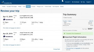 Los Angeles to Lima, Peru: Travelocity Booking Page