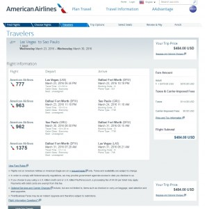 Las Vegas to Sao Paulo: American Airlines Booking Page