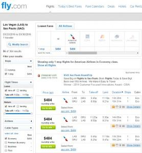Las Vegas to Sao Paulo: Fly.com Results
