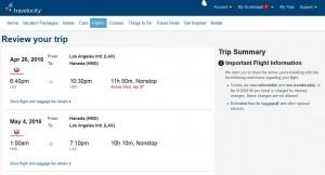 Los Angeles-Tokyo: Travelocity Booking Page