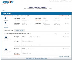 Los Angeles to Cancun: CheapOair Booking Page