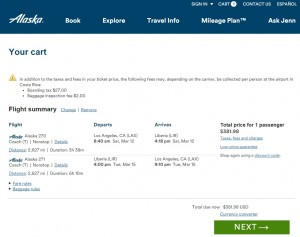 LA to Liberia, Costa Rica: Alaska Airlines Booking Page