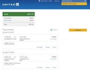 Los Angeles to Toronto: United Booking Page