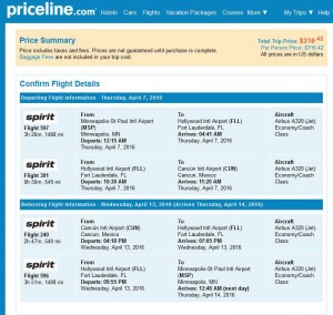 Minneapolis-Cancun: Priceline Booking Page