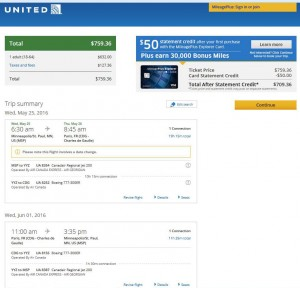 Minneapolis-Paris: United Airlines Booking Page
