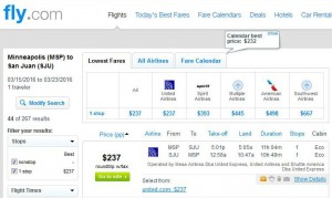 Minneapolis-San Juan: Fly.com Search Results