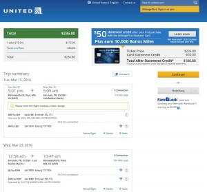 Minneapolis-San Juan: United Airlines Booking Page