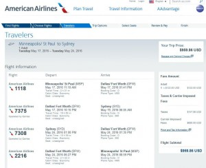Minneapolis-Sydney: American Airlines Booking Page