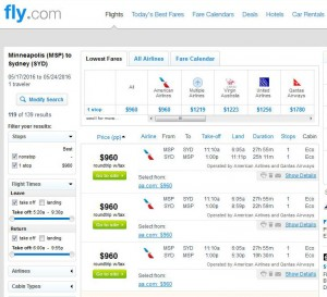 Minneapolis-Sydney: Fly.com Search Results