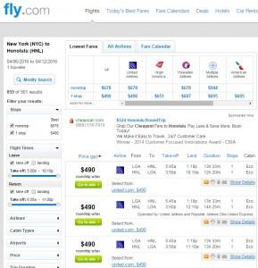 NYC to Honolulu: Fly.com Results