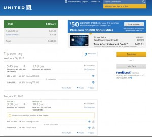 NYC to Honolulu: United Booking Page