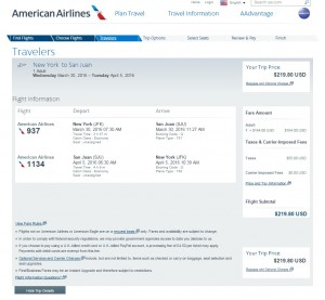 NYC to Puerto Rico: American Airlines Booking Page
