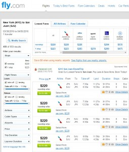 NYC to Puerto Rico: Fly.com Results