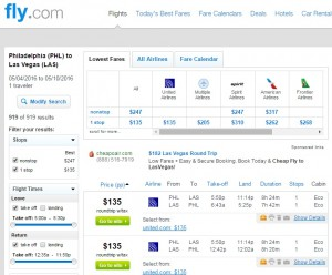 Philadelphia to Las Vegas: Fly.com Results
