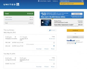 Philadelphia to Las Vegas: United Booking Page