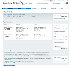 Phoenix to Dallas: American Airlines Booking Page