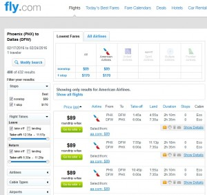 Phoenix to Dallas: Fly.com Results