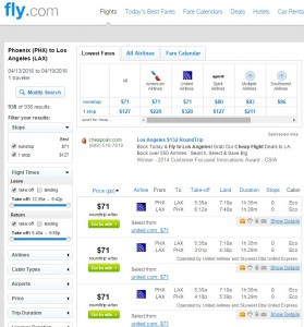 Phoenix to Los Angeles: Fly.com Results