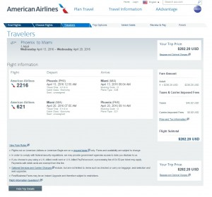 Phoenix to Miami: American Airlines Booking Page