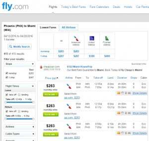 Phoenix to Miami: Fly.com Results