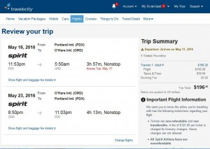 Portland-Chicago: Travelocity Booking Page