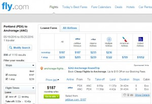 Portland to Anchorage: Fly.com Results