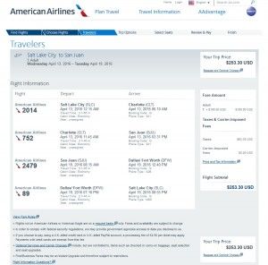 Salt Lake City to Puerto Rico: American Airlines Booking Page