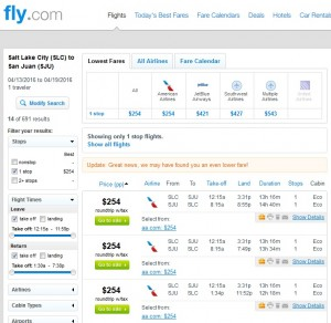 Salt Lake City to Puerto Rico: Fly.com Results