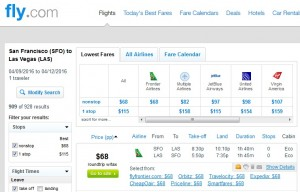 San Francisco to Las Vegas: Fly.com Results