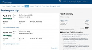 San Francisco to Las Vegas: Travelocity Booking Page
