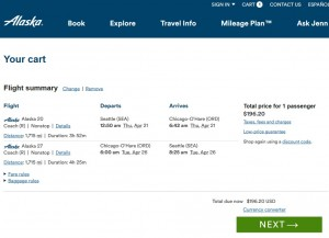 Seattle to Chicago: Alaska Airlines Booking Page
