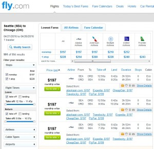 Seattle to Chicago: Fly.com Results
